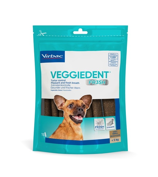 Virbac VeggieDent Very Small hondensnack tot 5 kg/15 kauwstrips