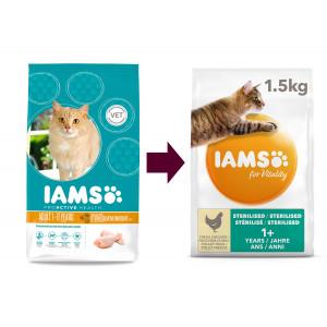 Iams Adult Sterilised/Overweight Kip kattenvoer