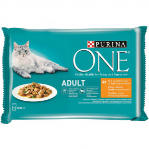 Purina One Adult Kip Pouch 85g kattenvoer