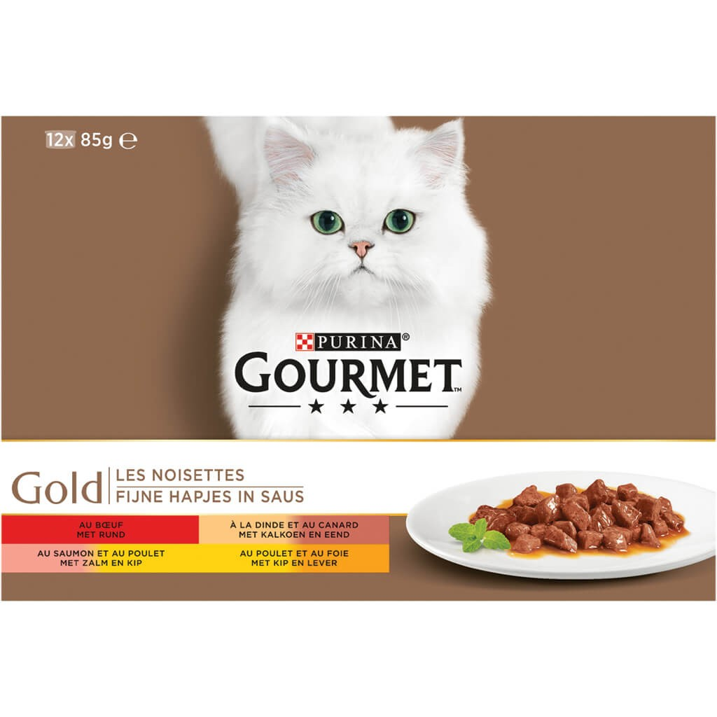 Gourmet Gold 12-Pack Fijne Hapjes in Saus kattenvoer