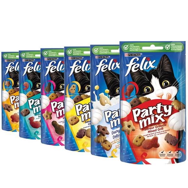 Felix Party Mix Combipack kattensnoep (6 zakjes)