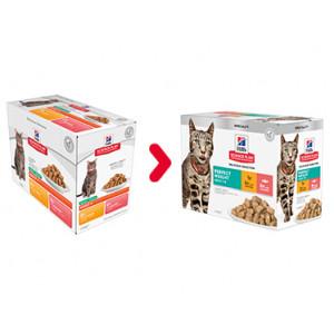 Hill's Adult Perfect Weight combipack kip zalm nat kattenvoer 85 g