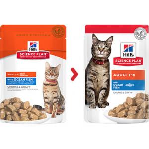 Hill's Adult zeevis nat kattenvoer zakjes 85 gr