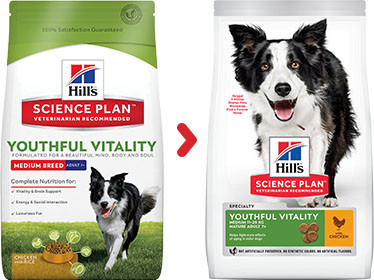 Hill's Adult 7+ Youthful Vitality Medium Kip hond