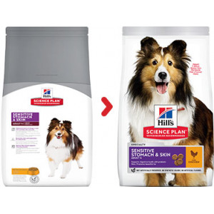 Hill's Adult Sensitive Stomach & Skin Medium kip hondenvoer