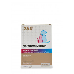 No Worm Diacur 250 voor hond en kat 30 tabletten