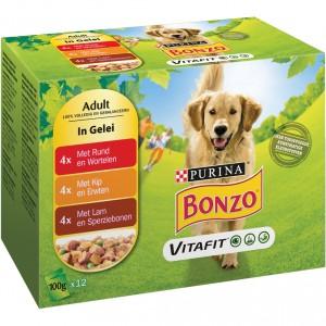 Bonzo Adult Maaltijdzakjes  Rund, Kip en Lam in Gelei hondenvoer