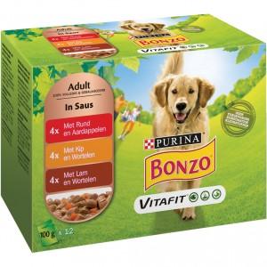Bonzo Vitafit Adult maaltijdzakjes rund kip lam in saus hondenvoer 4 x (12 x 100