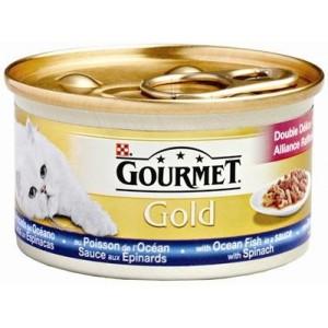 Nat kattenvoer Gourmet Gold Gourmet Gourmet Gold met zeevis in een saus met spinazie kattenvoer 1