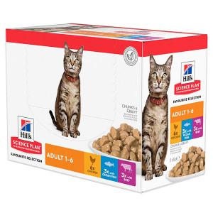 Hill's Adult Favourite Selection Pouch kattenvoer