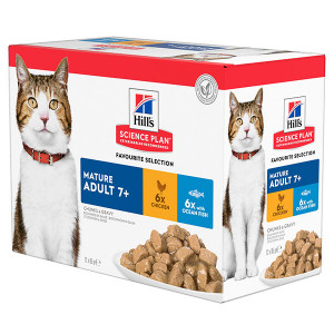 Hill's Mature Adult 7+ combipack kip zeevis nat kattenvoer 85 gr