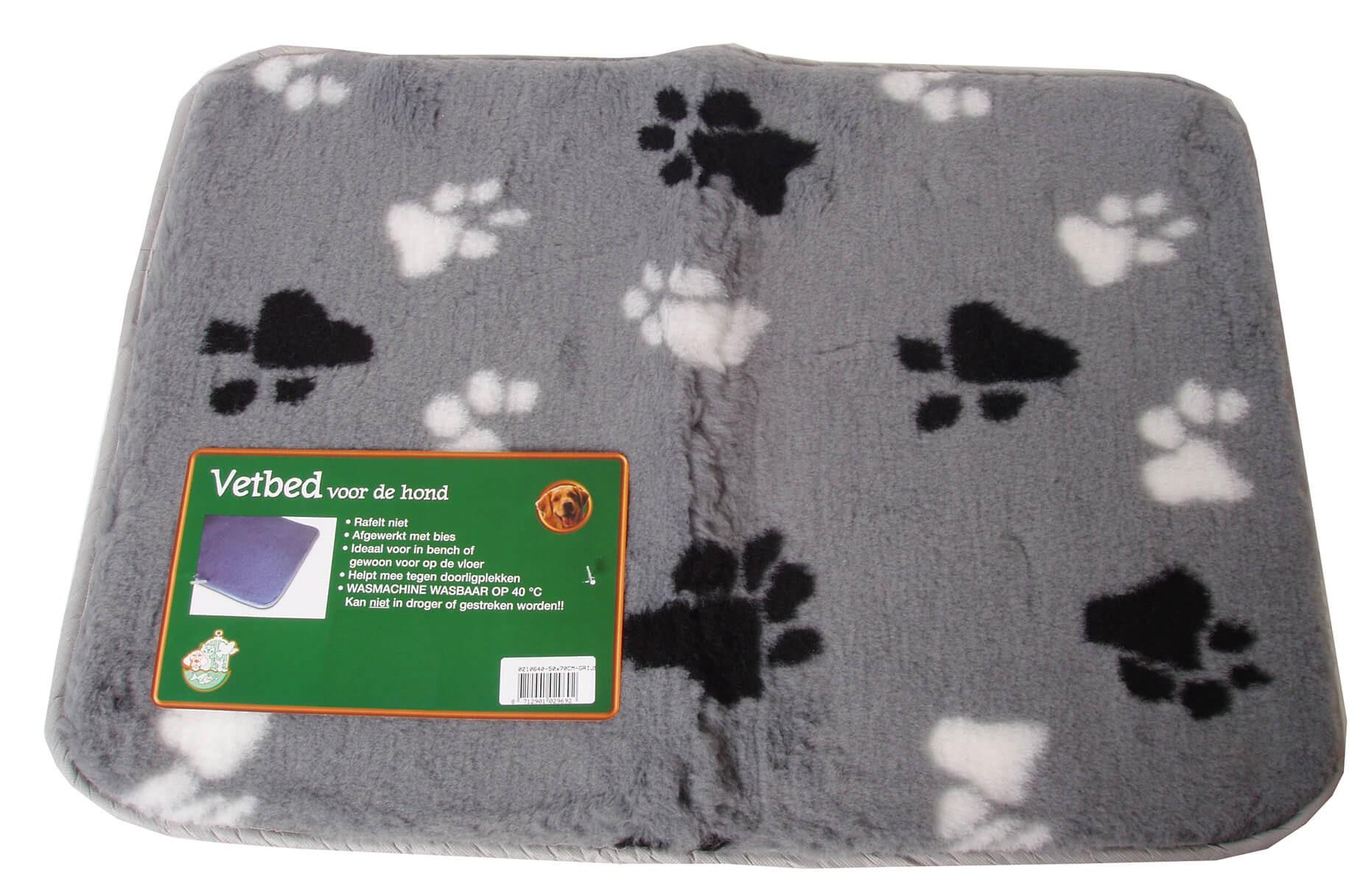 Vetbed Grijs met pootprint voor honden