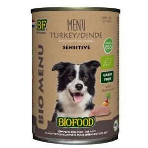 Biofood Organic Kalkoen menu blik 400 gr hondenvoer 12 x 400 gram