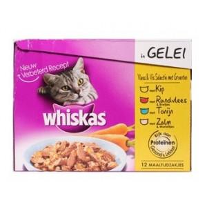 Whiskas Pouch 1 Vis Vlees in Gelei 8 doosjes Whiskas Hoge kwaliteit
