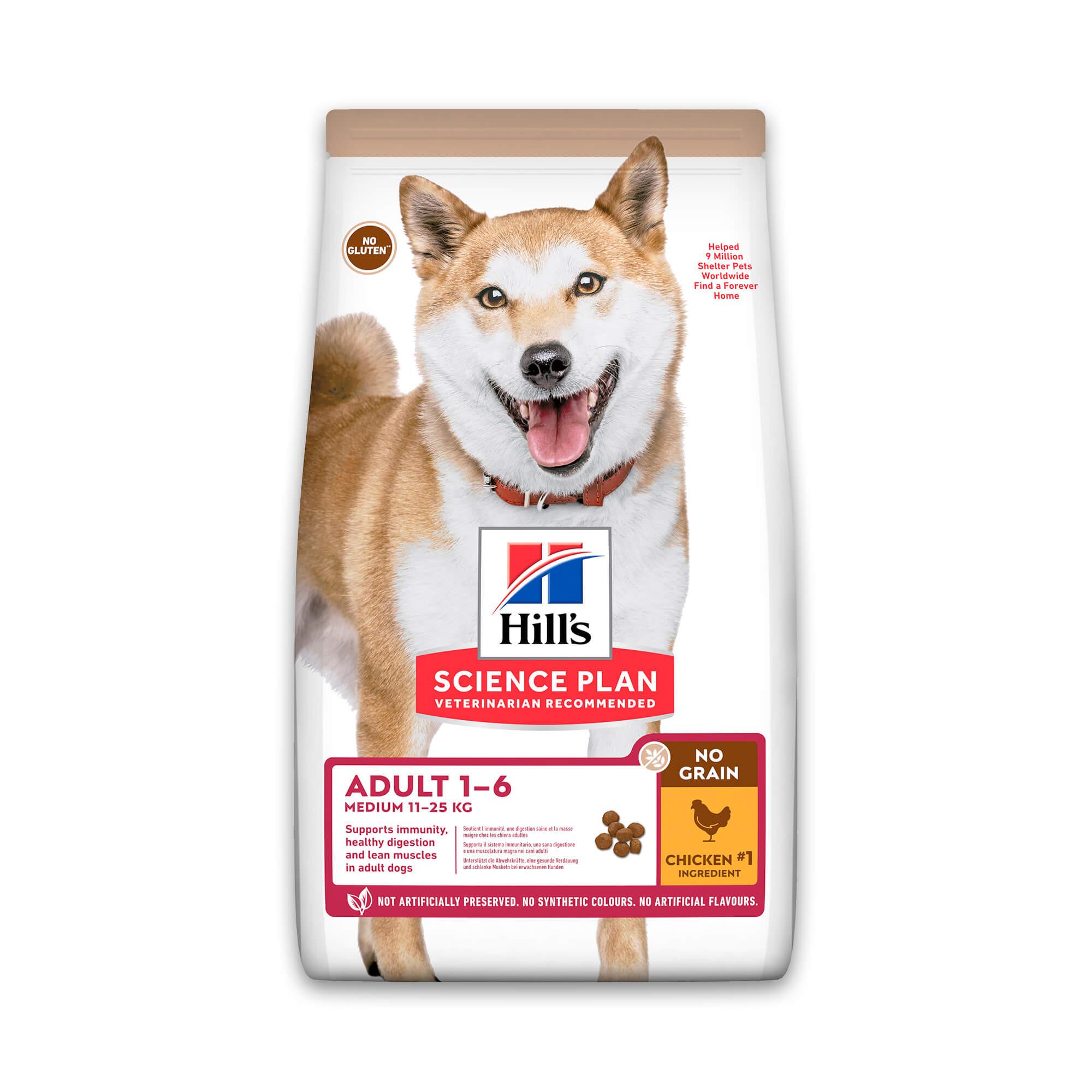 Hill's Adult Medium No Grain met kip hondenvoer