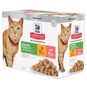 Hill's Mature Adult Senior Vitality nat kattenvoer combipack 12x85g