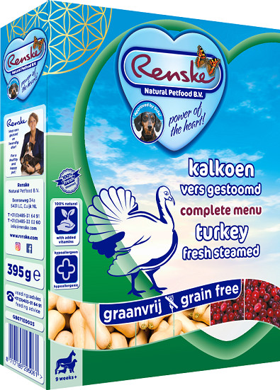 Renske Graanvrij vers gestoomde kalkoen hondenvoer (395 gr)