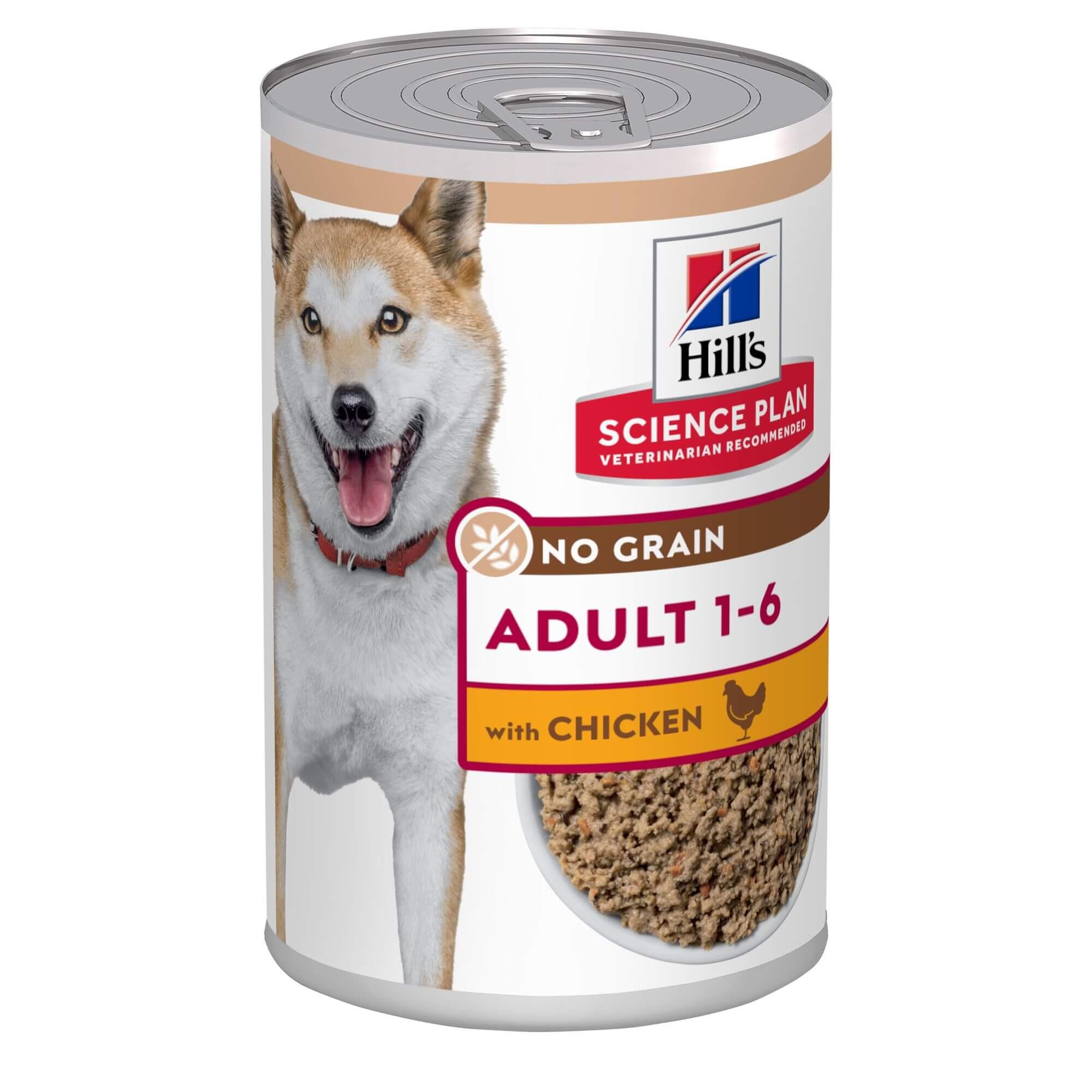 Hill's Adult No Grain met kip nat hondenvoer 363g blik