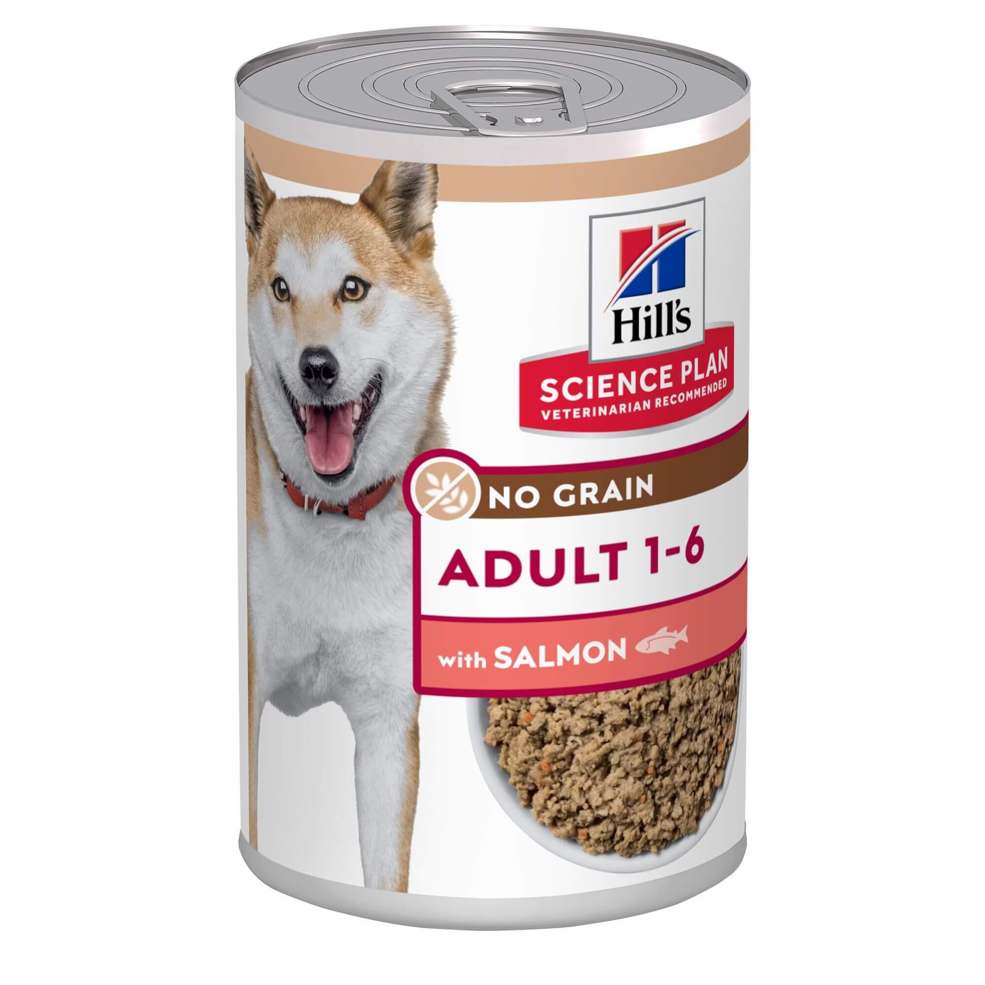 Hill's Adult No Grain met zalm nat hondenvoer 363g blik